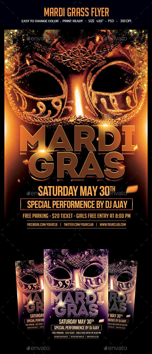 Mardi Grass Flyer - Clubs & Parties Events