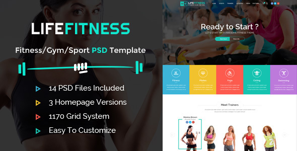 Life Fitness – Gym&Sport PSD Template