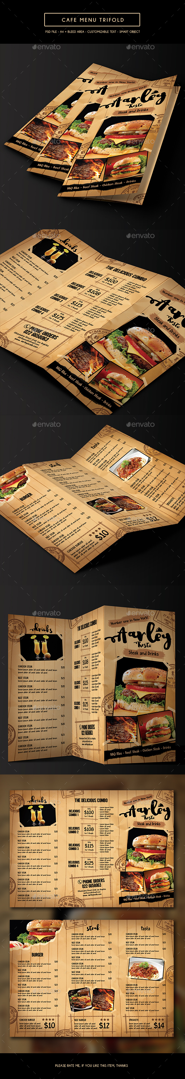 Cafe Menu Trifold - Food Menus Print Templates