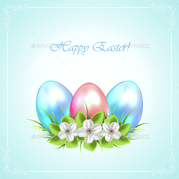 Three Easter Eggs with Flowers - Seasons/Holidays Conceptual