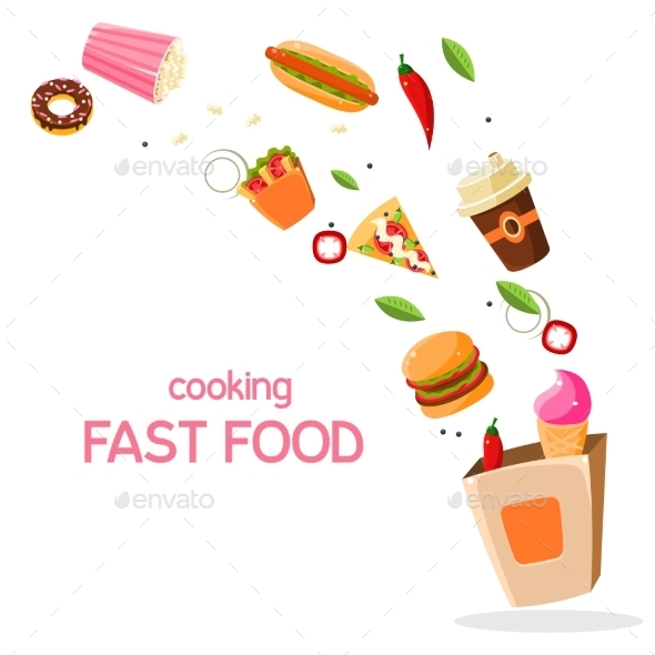 Fast Food Vector Illustration - Food Objects