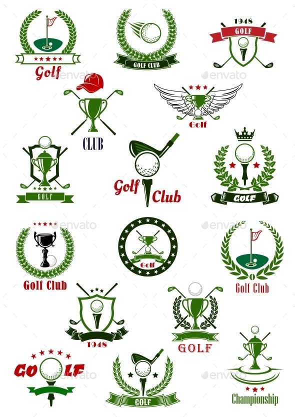 Golf Sport Game Icons And Symbols - Sports/Activity Conceptual