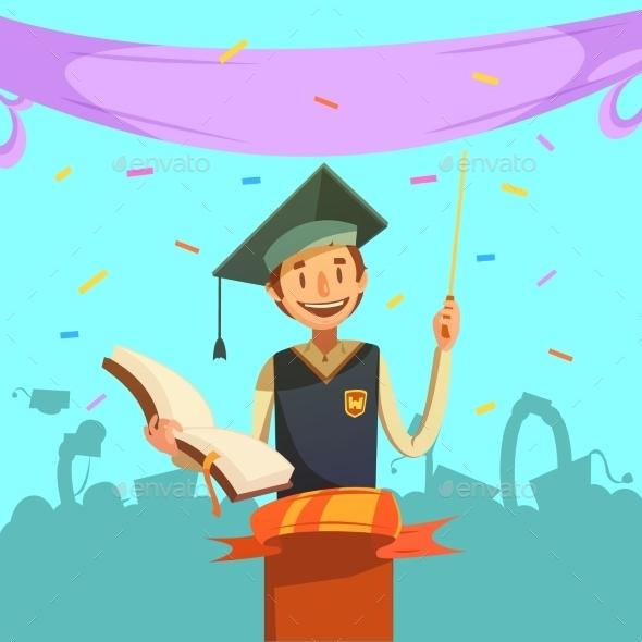 Education Retro Cartoon - Decorative Symbols Decorative