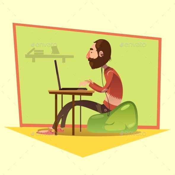 Programmer Cartoon Illustration  - Business Conceptual