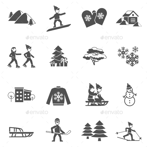 Winter Black Icons Set  - Seasonal Icons
