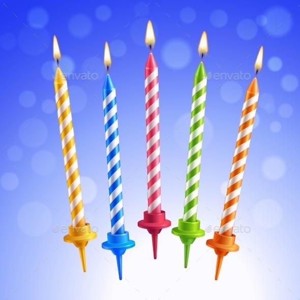 Birthday Candles Set - Decorative Symbols Decorative