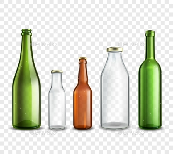 Glass Bottles Transparent - Decorative Symbols Decorative
