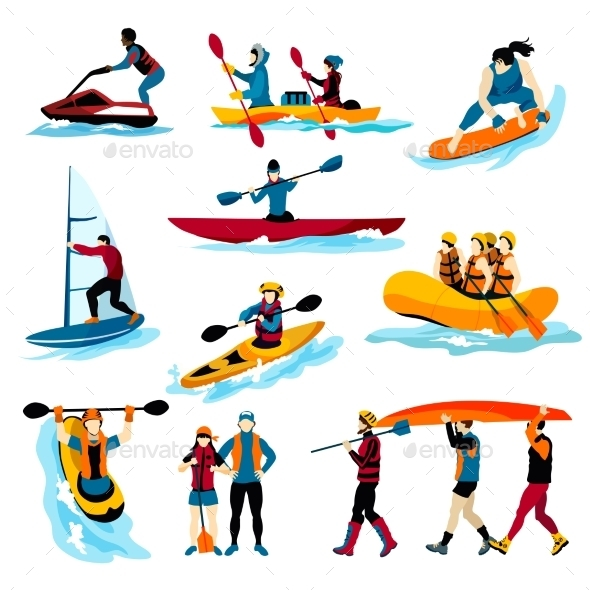 People In Extreme Water Sports Color Icons  - Sports/Activity Conceptual