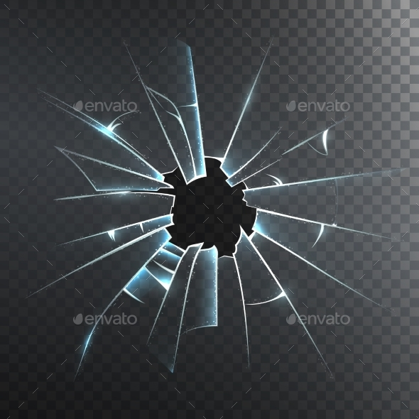 Broken Frosted Glass Realistic Icon  - Backgrounds Decorative