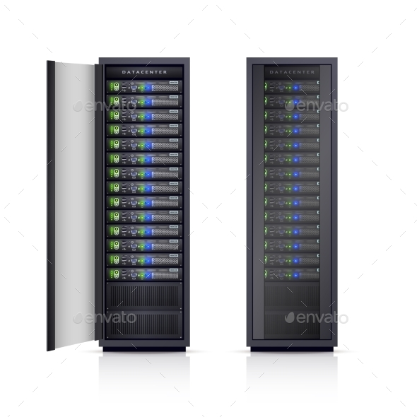Two Black Server Racks Realistic Illustration  - Communications Technology