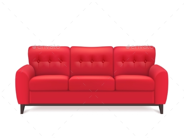 Red Leather Sofa Realistic Illustration - Backgrounds Decorative