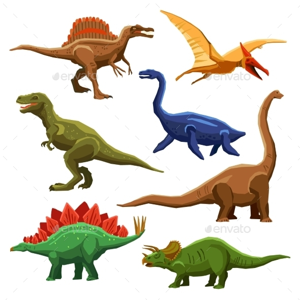 Dinosaurs Color Icons Set - Miscellaneous Characters