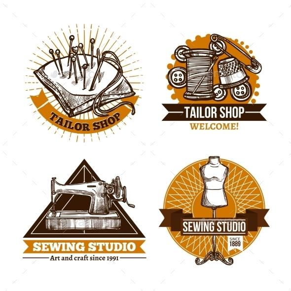 Sewing Hand Made Label Set  - Decorative Symbols Decorative