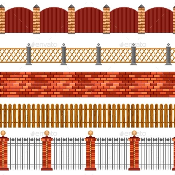 Fence Seamless Border Set - Backgrounds Decorative