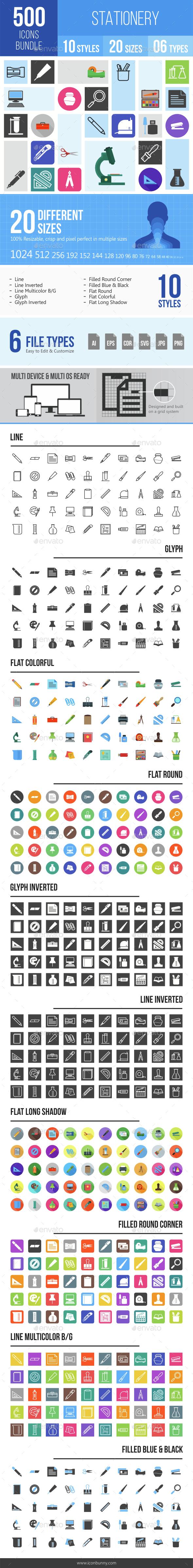 500 Stationery Icons Bundle - Icons