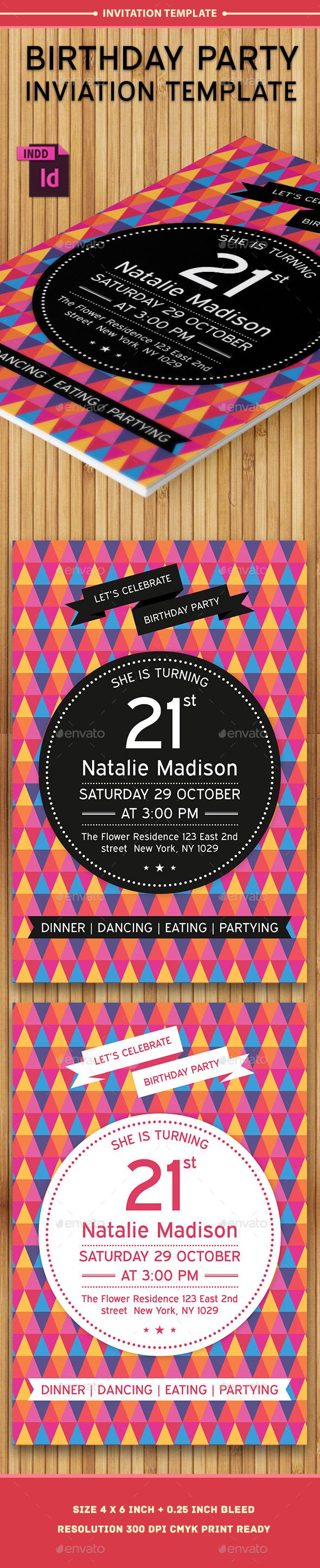Birthday Party Invitation Template - Vol . 6 - Cards & Invites Print Templates