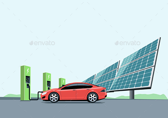 Electric Car Charging at the Charging Station - Miscellaneous Conceptual