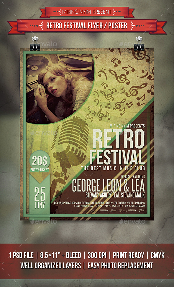 Retro Festival Flyer / Poster - Events Flyers