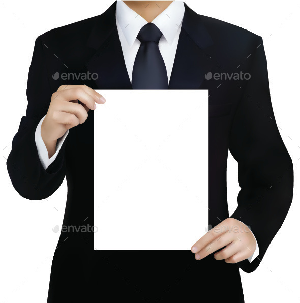 Businessman with Blank Page - Concepts Business