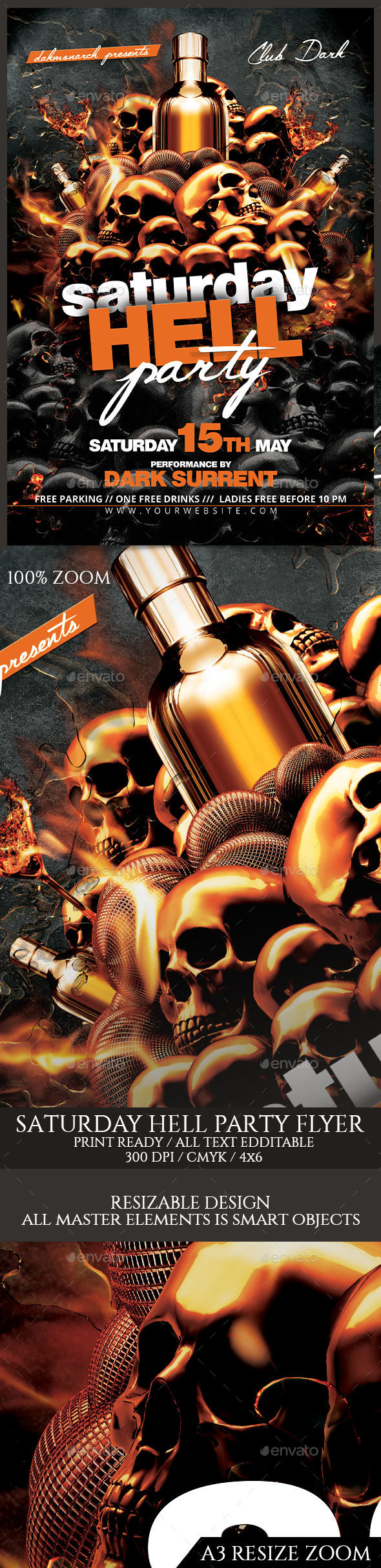 Saturday Hell Party Flyer - Events Flyers
