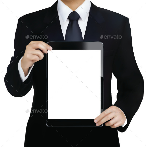 Businessman with Tablet Computer - Computers Technology