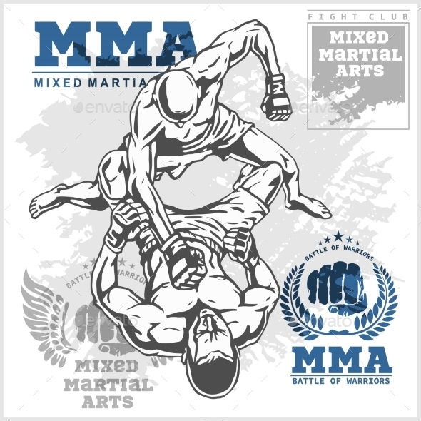 Match Two Fighters of Martial Mixed Arts - Sports/Activity Conceptual