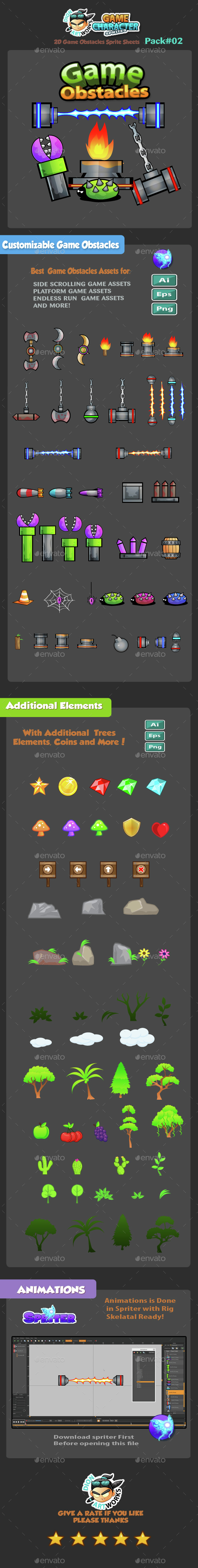 2D Game Obstacles Trees and Elements Pack02 - Miscellaneous Game Assets