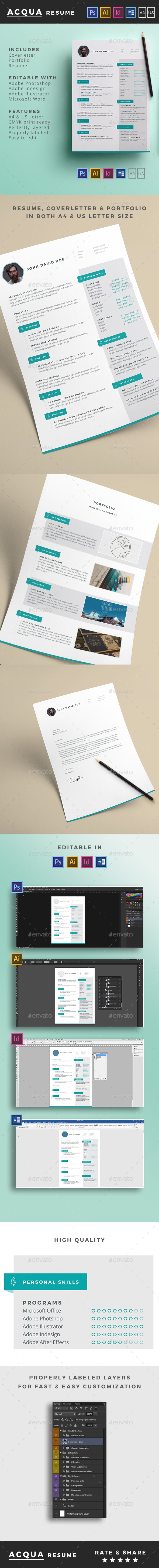 Acqua Resume - Resumes Stationery