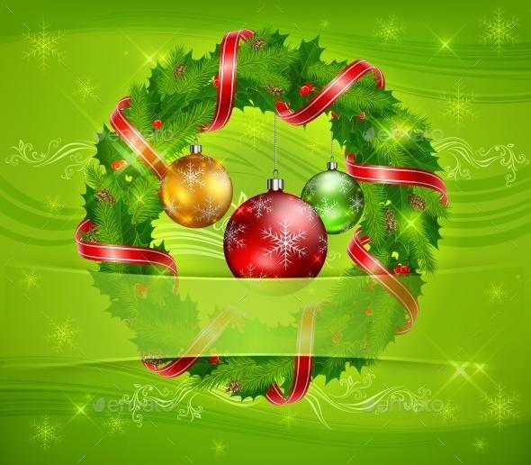 Christmas Wreath and Balls - Christmas Seasons/Holidays