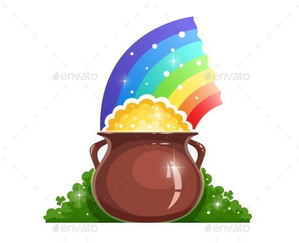 Kettle with Gold and Rainbow for Saint Patrick's - Miscellaneous Seasons/Holidays