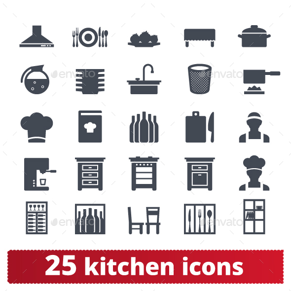 Kitchen And Cooking Icons - Food Objects