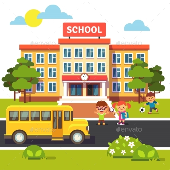 School Building and Bus with Students - Buildings Objects