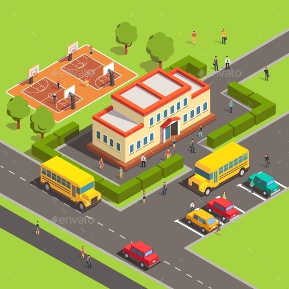 Isometric School Building with People - Miscellaneous Conceptual