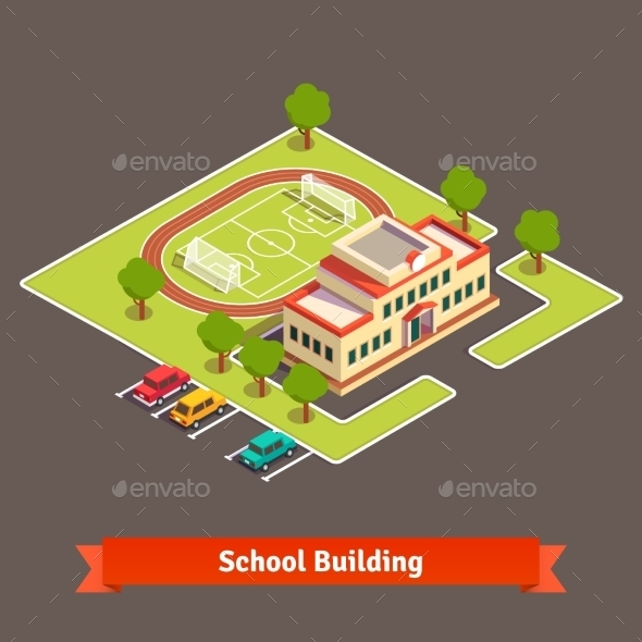 Isometric College Campus or School Building - Buildings Objects