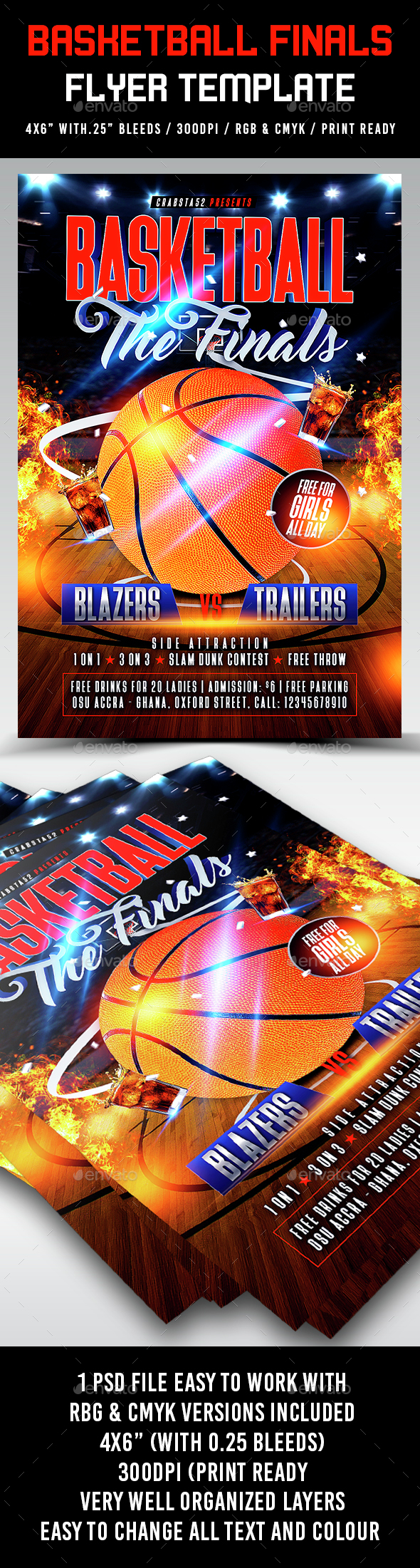 Basketball Finals Flyer Template - Sports Events