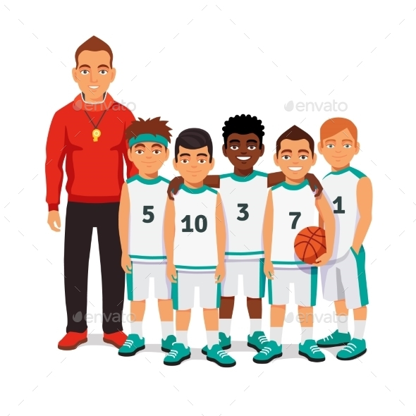 School Boys Basketball Team With Their Coach - Sports/Activity Conceptual