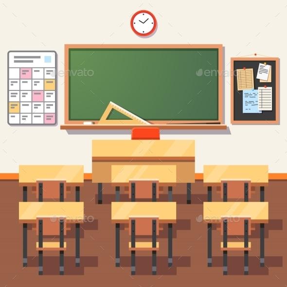 Empty School Classroom with Green Chalkboard - Miscellaneous Vectors
