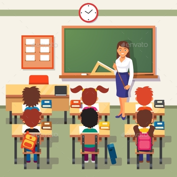 School Lesson with Young Students and Teacher - People Characters