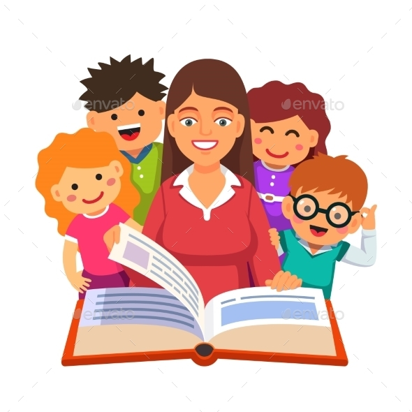 Teacher Reading Big Book to Young Students - People Characters