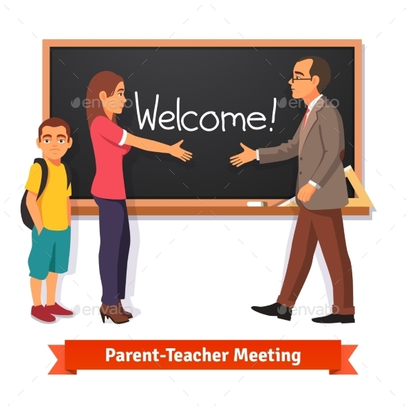 Teacher and Parent Meeting in Classroom - People Characters