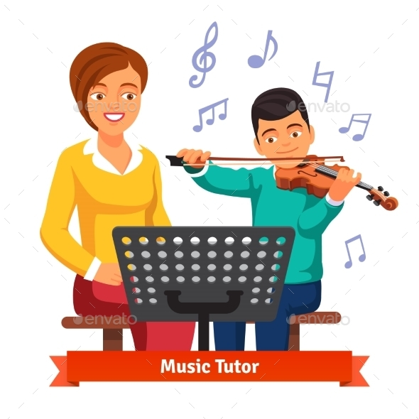 Musical Tutor Woman with Violin Student - People Characters