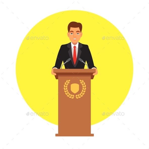 Public Speaker Speaking to Microphones - People Characters