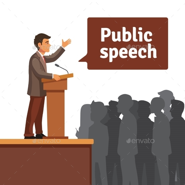 Public Speaker Speaking to Gathered Public - People Characters