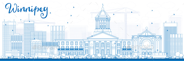 Outline Winnipeg Skyline with Blue Buildings - Buildings Objects