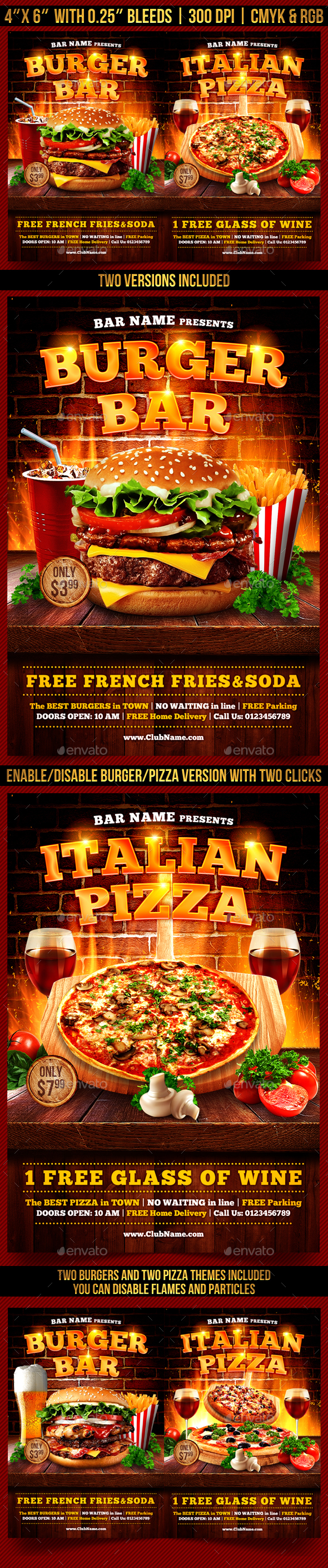 burger and pizza flyer template restaurant flyers