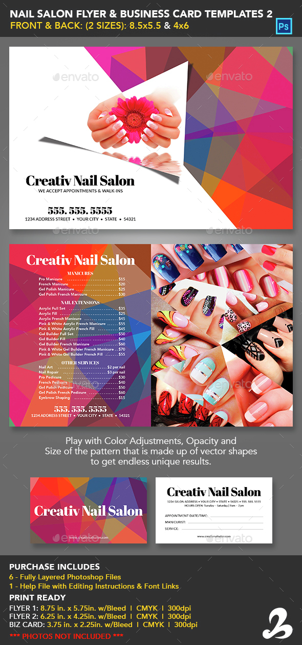 Nail Salon Flyer Business Card Templates 2 By Creativb Graphicriver