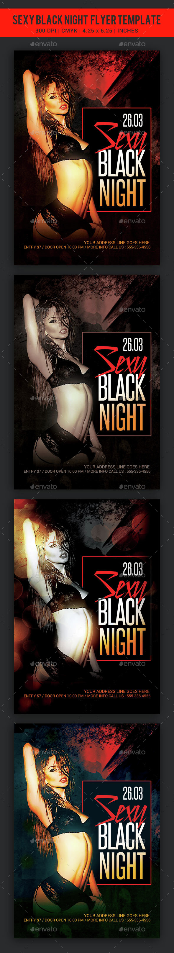 Sexy Black Night Party Flyer template - Clubs & Parties Events