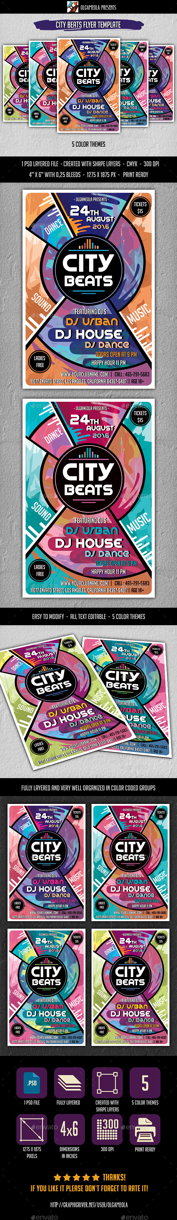 City Beats Flyer Template - Clubs & Parties Events