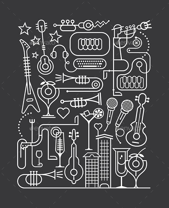 Karaoke Party Art Line Illustration - People Characters