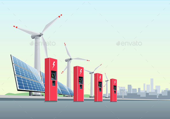 Electric Charging Station in Front of Windmills and Solar Panels - Miscellaneous Conceptual